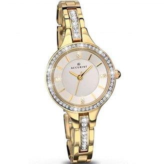 Accurist Ladiesシルバーダイヤルゴールドブレスレット腕時計8056