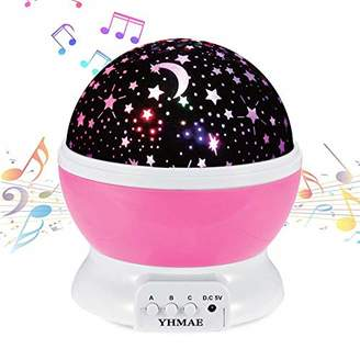 Music Night Light Projector Lamp Baby Star Projector 360 Degree Rotating 9 Multicolor Changing With Rechargeable Battery