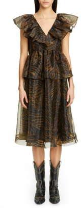 Ganni Tiger Print Organza Midi Dress