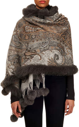 Gorski Double-Face Cashmere Stole w/ Fur Trim