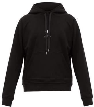 Neil Barrett Logo Print Cotton Hooded Sweatshirt - Mens - Black