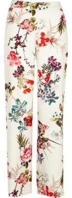 River IslandRiver Island Womens White floral print wide leg pants