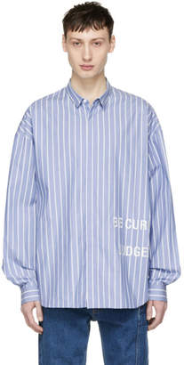 Juun.J Blue and White Striped Be Curious Shirt
