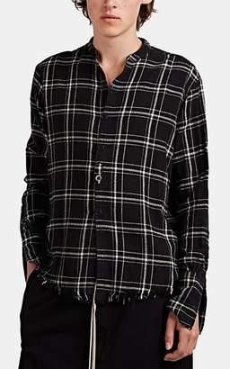 Greg Lauren Men's Plaid Flannel Studio Shirt - Black