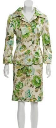 Dolce & Gabbana Silk-Blend Printed Skirt Suit green Silk-Blend Printed Skirt Suit