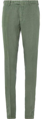 Boglioli Green Slim-Fit Linen Suit Trousers