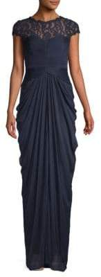 Adrianna Papell Ruched Lace Column Gown