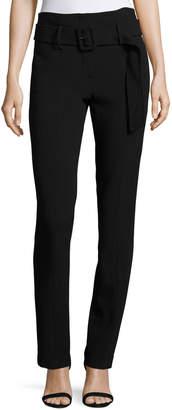 Theory Belt Cigarette Fixture Ponte Pants, Black