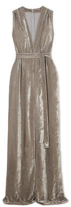 Bottega Veneta Belted Velvet Jumpsuit - Gray