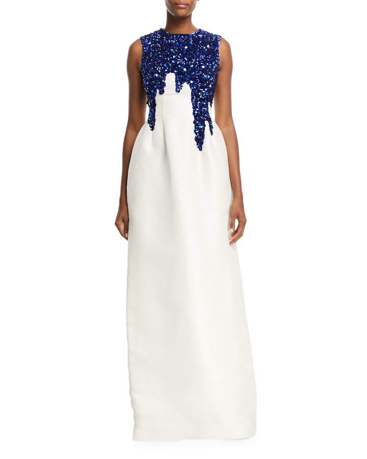 Oscar De La Renta Sleeveless Sequin-Embroidered Faille Gown