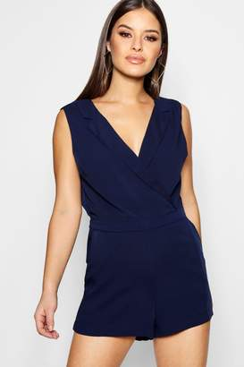 boohoo Petite Tailored Woven Wrap Front Playsuit