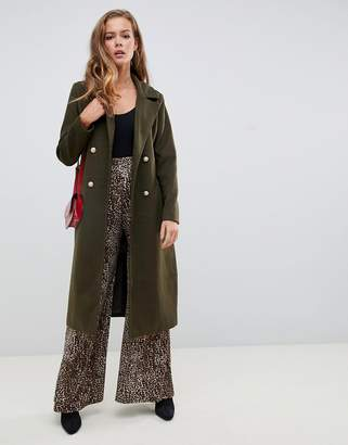 Missguided belted military coat in green