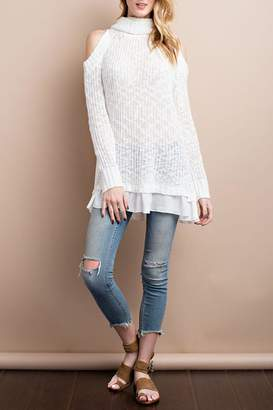 Easel Cold-Shoulder Sweater Top
