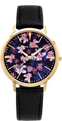 Vince Camuto Floral-print Leather-band Watch