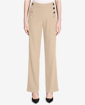 Calvin Klein Jumbo-Button Wide-Leg Pants