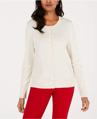 Charter Club Embellished Button-Down Cardigan