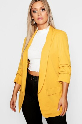 boohoo Plus Ruched Sleeve Blazer