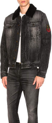 Saint Laurent Shearling Trim Denim Jacket
