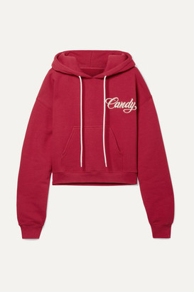 Adaptation Cropped Embroidered Cotton-jersey Hoodie - Claret