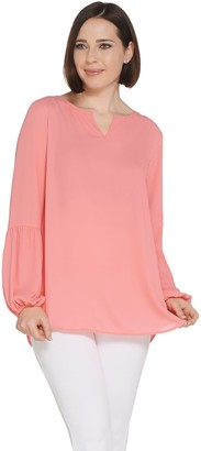 Joan Rivers Classics Collection Joan Rivers Split Neck Blouse with Lantern Sleeves