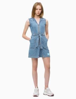 Calvin Klein irwin blue zip belted mini dress