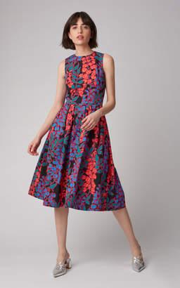 Carolina Herrera Box Pleat Midi Dress