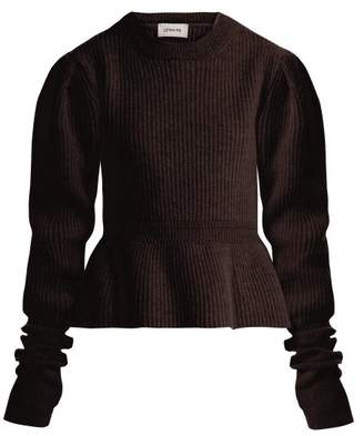 Lemaire - Peplum Hem Ribbed Knit Wool Sweater - Womens - Brown