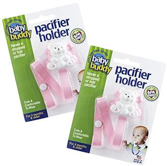 Baby Buddy Unisex 2 Piece Pacifier Holder Clip, Light Pink, 4 Months and up