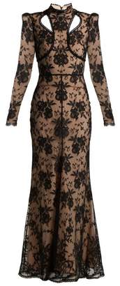 Alexander McQueen Cut Out Floral Lace Gown - Womens - Black