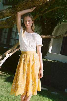 Maeve Vineland Embroidered Midi Skirt