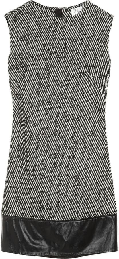 Milly Cecelia leather-trimmed wool-blend tweed dress