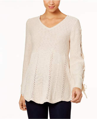 Style&Co. Style & Co Laced-Sleeve Sweater, Created for Macy's