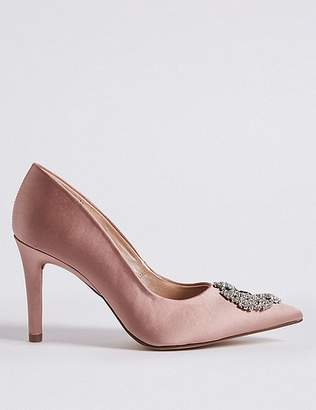 Marks and Spencer Stiletto Heel Jewel Pointed Toe Court Shoes
