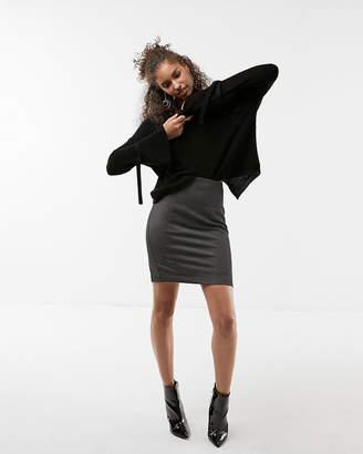 Express Petite High Waisted Crosshatch Seamed Pencil Skirt