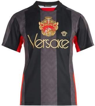 Versace Logo Embroidered Jersey T Shirt - Mens - Black
