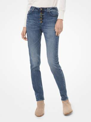 MICHAEL Michael Kors Stretch-Denim Button-Front Skinny Jeans