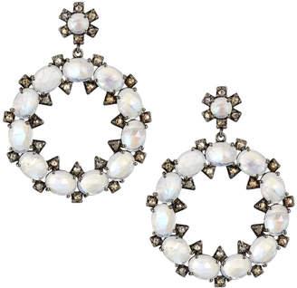 Bavna Round Moonstone & Diamond Open Drop Earrings axs88iUPP