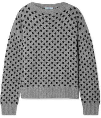 Prada Polka-dot Intarsia Wool And Cashmere-blend Sweater - Gray