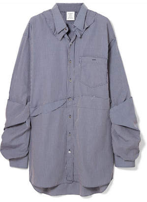 Vetements Oversized Distressed Checked Cotton-poplin Shirt - Blue