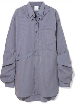 Vetements Oversized Distressed Checked Cotton-poplin Shirt - Blue