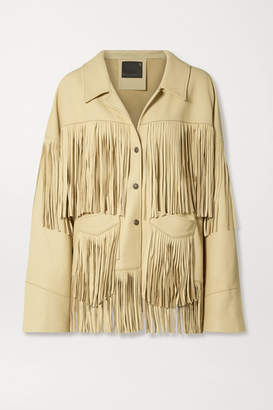 R 13 Fringed Textured-leather Jacket - Cream