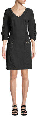 XCVI Zelia 3/4-Sleeve Embroidered Poplin Dress