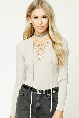 Forever 21 Lace-Up Ribbed Top