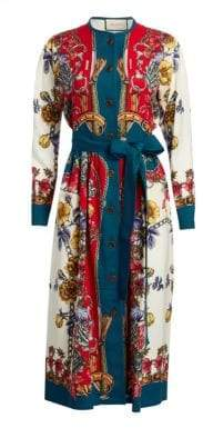 Gucci Long-Sleeve Silk Twill Border Detail Floral Dress