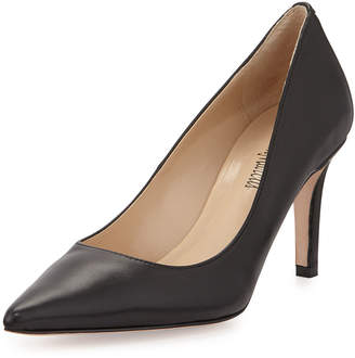 Neiman Marcus Cissy Pointed-Toe Leather Pumps, Black