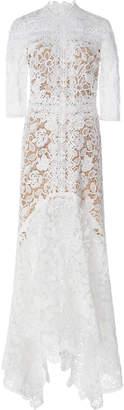 Costarellos Guipure Lace Mock-Neck Handkerchief Dress Size: 34