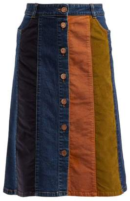 See by Chloe Contrast Panel Denim Skirt - Womens - Blue Multi