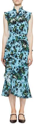 Erdem Irina Floral Silk Belted Ruffle Dress