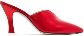 ATTICO Monica Metallic Leather Mules - Red