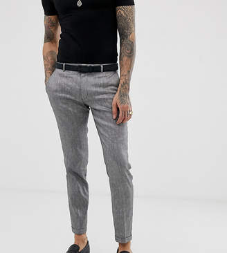 Heart N Dagger skinny fit suit pants in grey linen mix